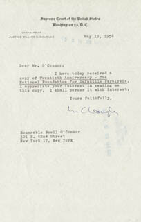 Autographs: ASSOCIATE JUSTICE WILLIAM O. DOUGLAS - TYPED LETTER SIGNED 05/19/1958