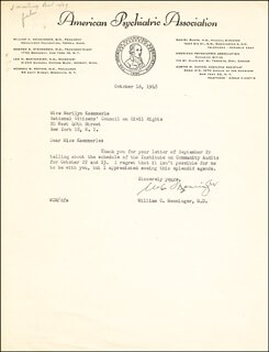WILLIAM C. MENNINGER - TYPED LETTER SIGNED 10/16/1948