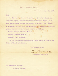 PRESIDENT THEODORE ROOSEVELT - TYPED LETTER SIGNED 09/22/1897