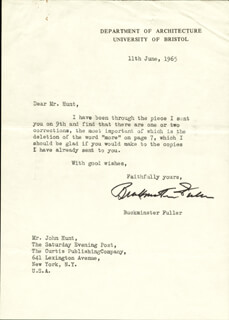 BUCKMINSTER FULLER - TYPED LETTER SIGNED 06/11/1965