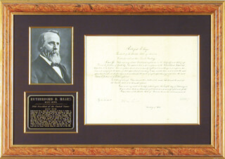 Autographs: PRESIDENT RUTHERFORD B. HAYES - CIVIL APPOINTMENT SIGNED 02/12/1878 CO-SIGNED BY: WILLIAM M. EVARTS