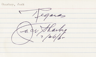 JACK SHARKEY - AUTOGRAPH SENTIMENT SIGNED 07/26/1960