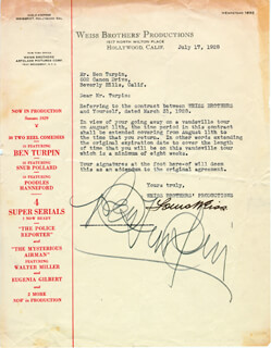 BEN TURPIN - DOCUMENT SIGNED 07/17/1928