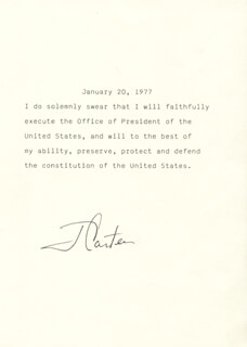 Autographs: PRESIDENT JAMES E. JIMMY CARTER - PRESIDENTIAL OATH SIGNED CIRCA 1977
