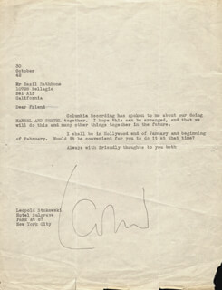LEOPOLD STOKOWSKI - TYPED LETTER SIGNED 10/30/1942