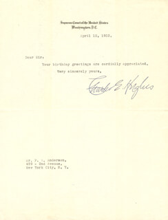 CHIEF JUSTICE CHARLES E HUGHES - TYPED NOTE SIGNED 04/12/1932