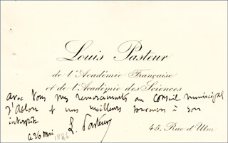 LOUIS PASTEUR - AUTOGRAPH NOTE ON CALLING CARD SIGNED 5/26