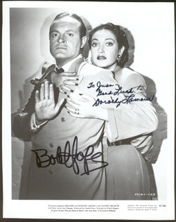 MY FAVORITE BRUNETTE MOVIE CAST - INSCRIBED PRINTED PHOTOGRAPH SIGNED IN INK CO-SIGNED BY: BOB HOPE, DOROTHY LAMOUR