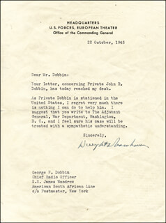 PRESIDENT DWIGHT D. EISENHOWER - TYPED LETTER SIGNED 10/22/1945