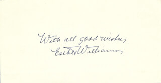 ESTHER WILLIAMS - AUTOGRAPH SENTIMENT SIGNED