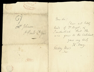 SIR HUMPHRY DAVY - AUTOGRAPH LETTER SIGNED 12/23