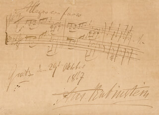 ANTON RUBINSTEIN - AUTOGRAPH MUSICAL QUOTATION SIGNED 10/29/1867