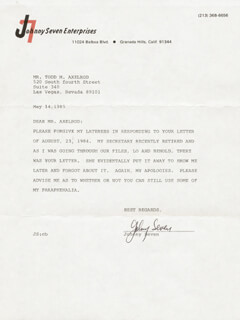 JOHNNY SEVEN - TYPED LETTER SIGNED 05/14/1985