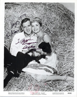 THE MATING GAME MOVIE CAST - INSCRIBED PRINTED PHOTOGRAPH SIGNED IN INK 1959 CO-SIGNED BY: DEBBIE REYNOLDS, TONY RANDALL