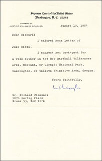Autographs: ASSOCIATE JUSTICE WILLIAM O. DOUGLAS - TYPED LETTER SIGNED 08/10/1964