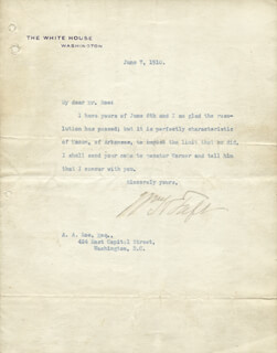 PRESIDENT WILLIAM H. TAFT - TYPED LETTER SIGNED 06/07/1910
