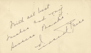 VINCENT PRICE - AUTOGRAPH SENTIMENT SIGNED