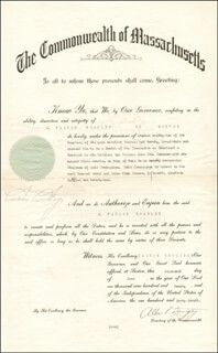 PRESIDENT CALVIN COOLIDGE - CIVIL APPOINTMENT SIGNED 06/16/1920 CO-SIGNED BY: ALBERT PERKINS LANGTRY