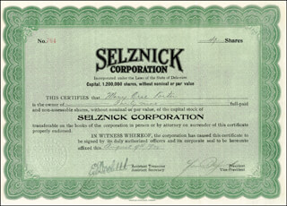 LEWIS SELZNICK - STOCK CERTIFICATE SIGNED 08/09/1922