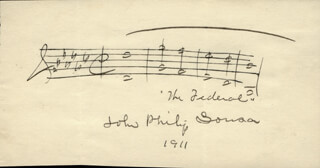JOHN PHILIP THE MARCH KING SOUSA - AUTOGRAPH MUSICAL QUOTATION SIGNED 1911
