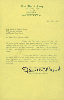 DANIEL C. BEARD - TYPED LETTER SIGNED 05/26/1937