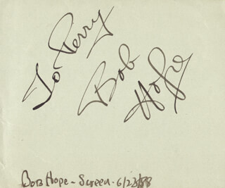 BOB HOPE - INSCRIBED SIGNATURE CIRCA 1988