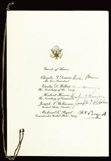 PRESIDENT HERBERT HOOVER - MENU SIGNED CIRCA 1928 CO-SIGNED BY: VICE PRESIDENT CHARLES G. DAWES, REAR ADMIRAL RICHARD E. BYRD, JOSEPH T. ROBINSON