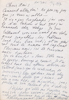 MARC CHAGALL - AUTOGRAPH LETTER SIGNED 04/12/1947
