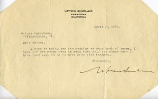 UPTON SINCLAIR - TYPED LETTER SIGNED 04/02/1926