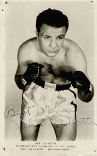 JAKE THE RAGING BULL LA MOTTA - PRINTED PHOTOGRAPH SIGNED IN INK