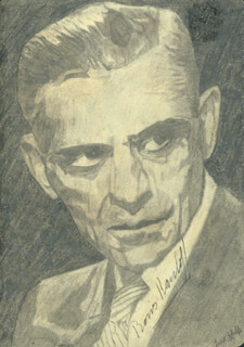 BORIS KARLOFF - SKETCH SIGNED CO-SIGNED BY: LISA WOLFE