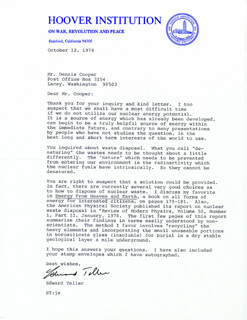 EDWARD TELLER - TYPED LETTER SIGNED 10/12/1979