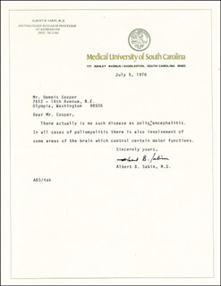 DR. ALBERT B. SABIN - TYPED LETTER SIGNED 07/05/1978