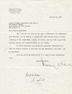 GENERAL DOUGLAS MACARTHUR - TYPED LETTER SIGNED 01/25/1956 CO-SIGNED BY: ASHLEY T. COLE