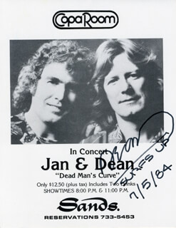 JAN & DEAN (DEAN TORRENCE) - ADVERTISEMENT SIGNED 07/05/1984