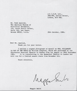 DAME MAGGIE SMITH - TYPED LETTER SIGNED 10/29/1984