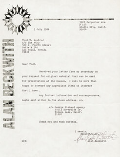 ALAN BECKWITH - TYPED LETTER SIGNED 07/05/1984