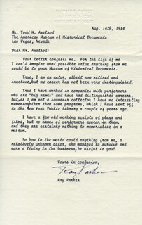 RAY PARKER - TYPED LETTER SIGNED 08/14/1984