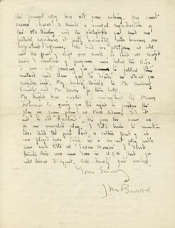 SIR JAMES M. BARRIE - MANUSCRIPT LETTER SIGNED 02/11/1927