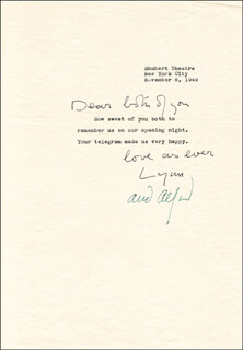 LYNN FONTANNE - TYPED LETTER SIGNED 11/08/1949 CO-SIGNED BY: ALFRED LUNT