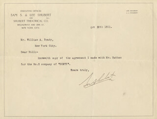 LEE SHUBERT - TYPED NOTE SIGNED 10/30/1911