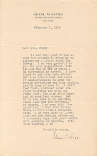 ELMER RICE - TYPED LETTER SIGNED 02/08/1929