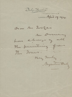 AUGUSTIN DALY - AUTOGRAPH LETTER SIGNED 04/19/1894