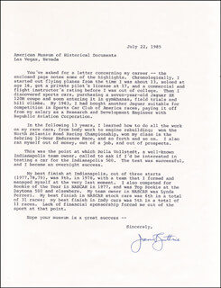 JANET GUTHRIE - TYPED LETTER SIGNED 07/22/1985