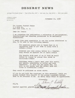 NORMAN VINCENT PEALE - DOCUMENT SIGNED 11/25/1968 CO-SIGNED BY: THERON C. LIDDLE
