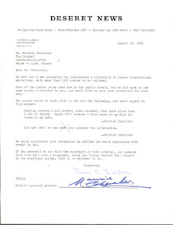 MAURICE CHEVALIER - DOCUMENT SIGNED 08/26/1968
