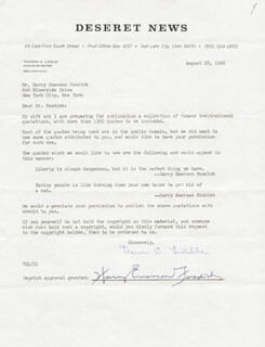 Autographs: HARRY EMERSON FOSDICK - DOCUMENT SIGNED 08/28/1968