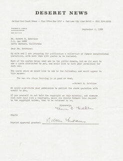 ROBERT MAYNARD HUTCHINS - DOCUMENT SIGNED 09/02/1968 CO-SIGNED BY: THERON C. LIDDLE
