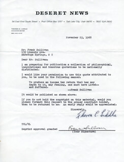 FRANK SULLIVAN - DOCUMENT SIGNED 11/25/1968 CO-SIGNED BY: THERON C. LIDDLE