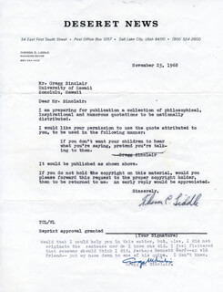 GREGG M. SINCLAIR - DOCUMENT SIGNED 11/25/1968 CO-SIGNED BY: THERON C. LIDDLE